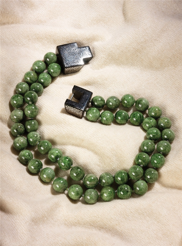 Two Strand Chrome Diopside Necklace