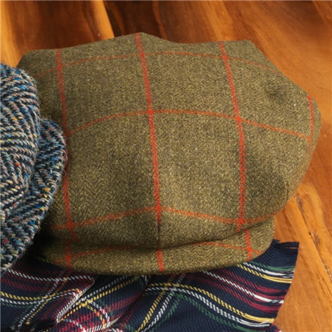 Wool Turnberry Cap in Olive with Fire Windowpanes