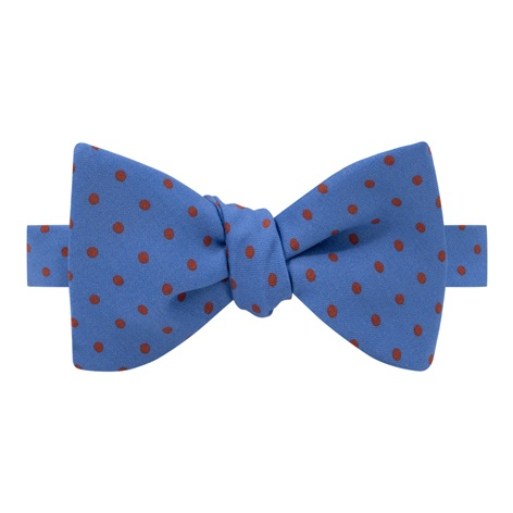Wool Printed Dots Bow Tie in Cobalt with Rust