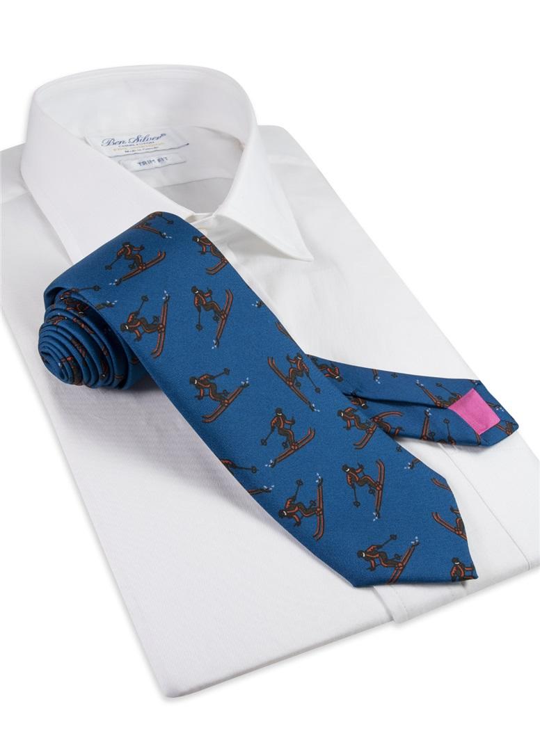 Printed Ski Tie in Teal