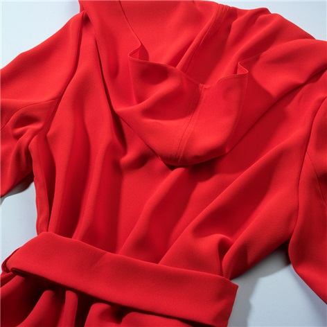 Ladies Crepe Coat in Cornelian Red