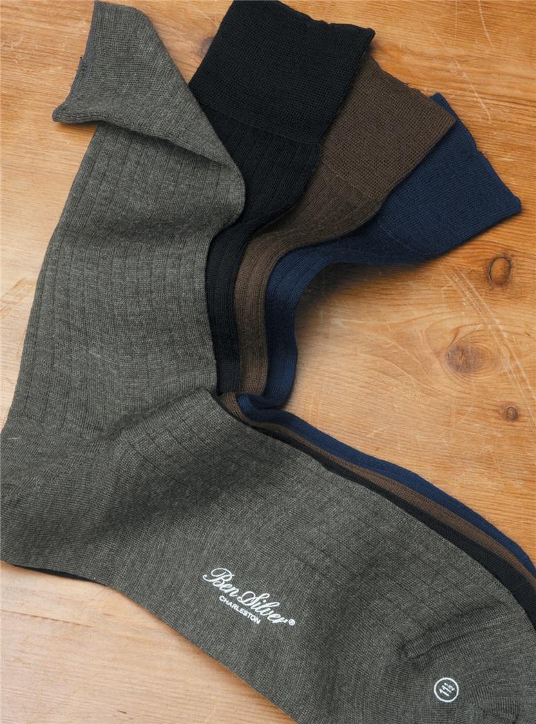 Short Wool Ribbed Dress Socks