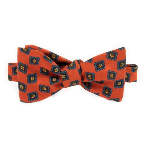 Silk Diamond Paisley Printed Bow Tie in Tangerine