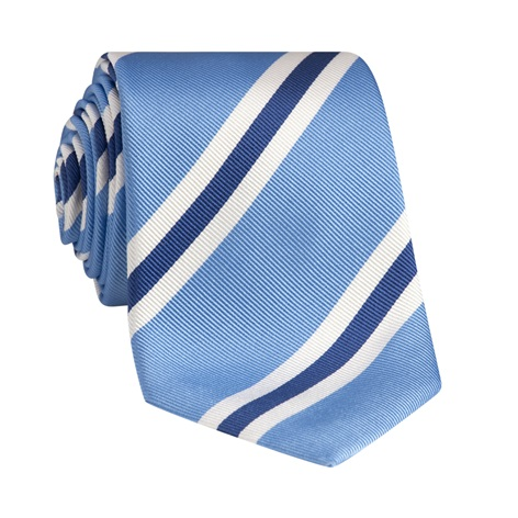 Silk Striped Tie in Cornflower