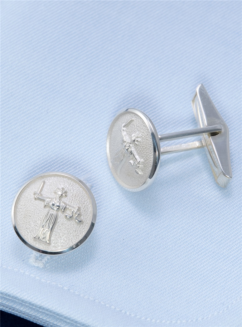 Lady Justice Sterling Silver Cufflinks