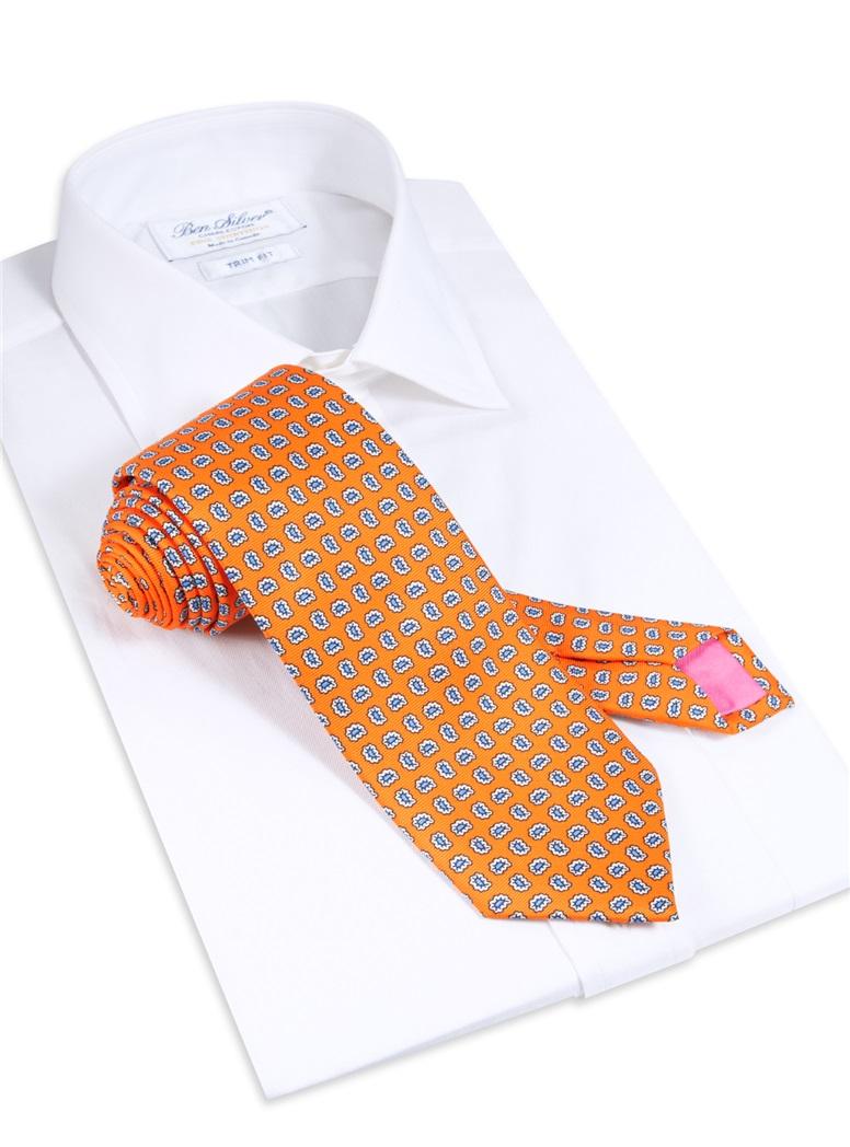 Silk Droplet Paisley Printed Tie in Marigold