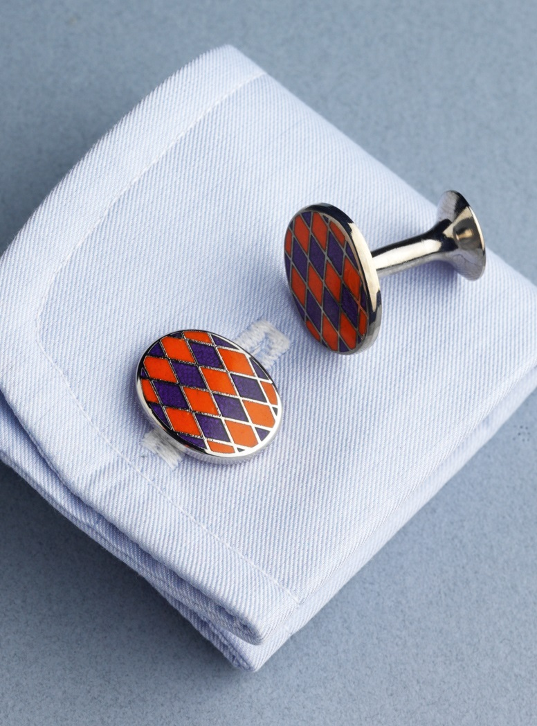 Navy and Orange Diamond design Oval Cufflinks