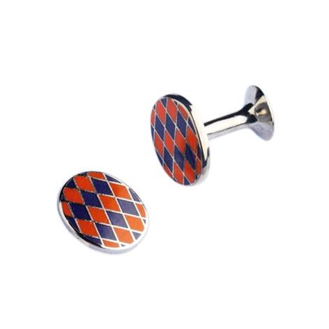 Navy and Orange Diamond design Oval Cufflinks