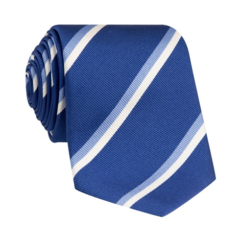 Silk Double Stripe Tie in Navy