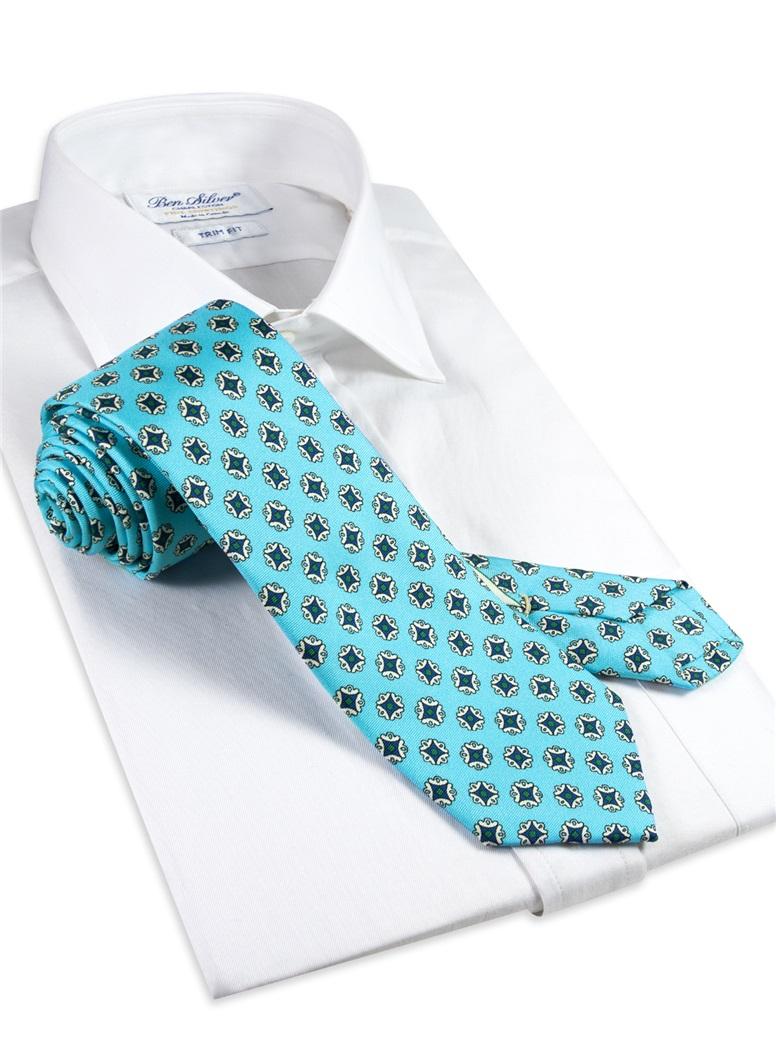 Silk Medallion Printed Tie in Aqua