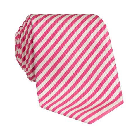 Silk Striped Tie in White and Azalea