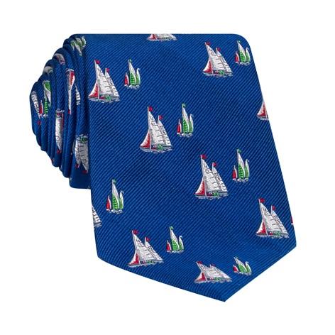 Silk Woven Sailboat Motif Tie in Marine