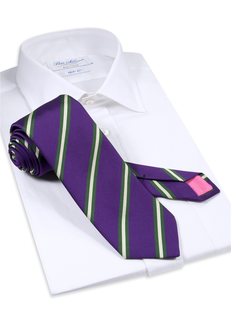 Silk Striped Tie in Plum