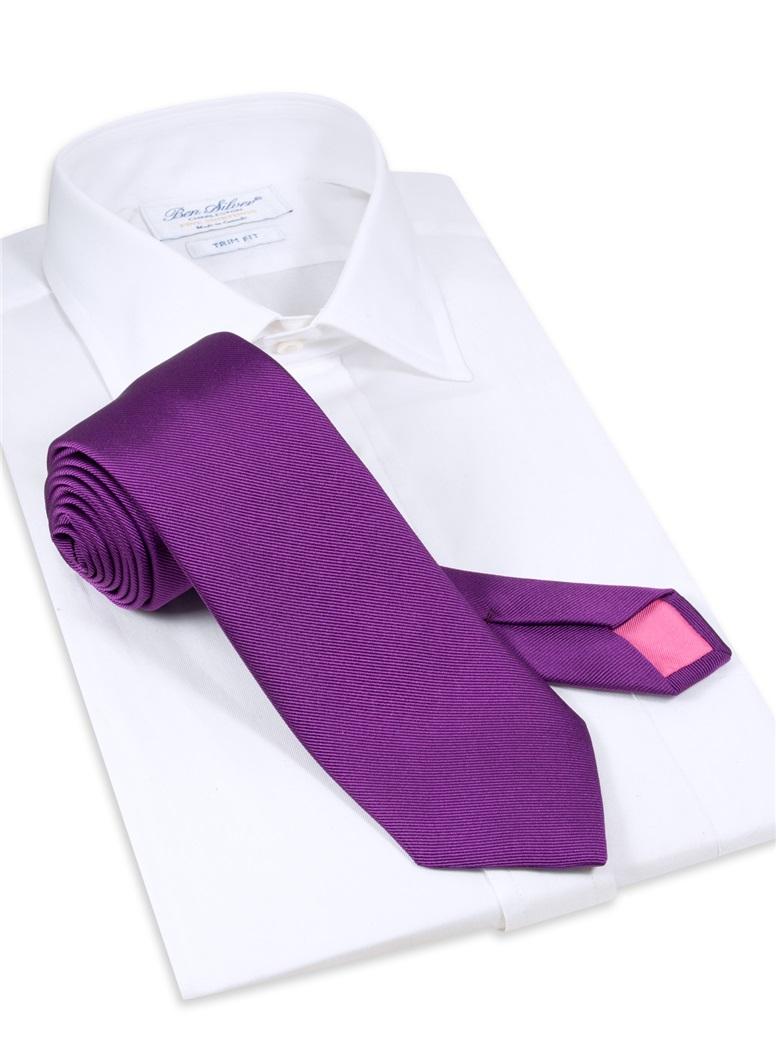Silk Signature Solid Tie in Violet