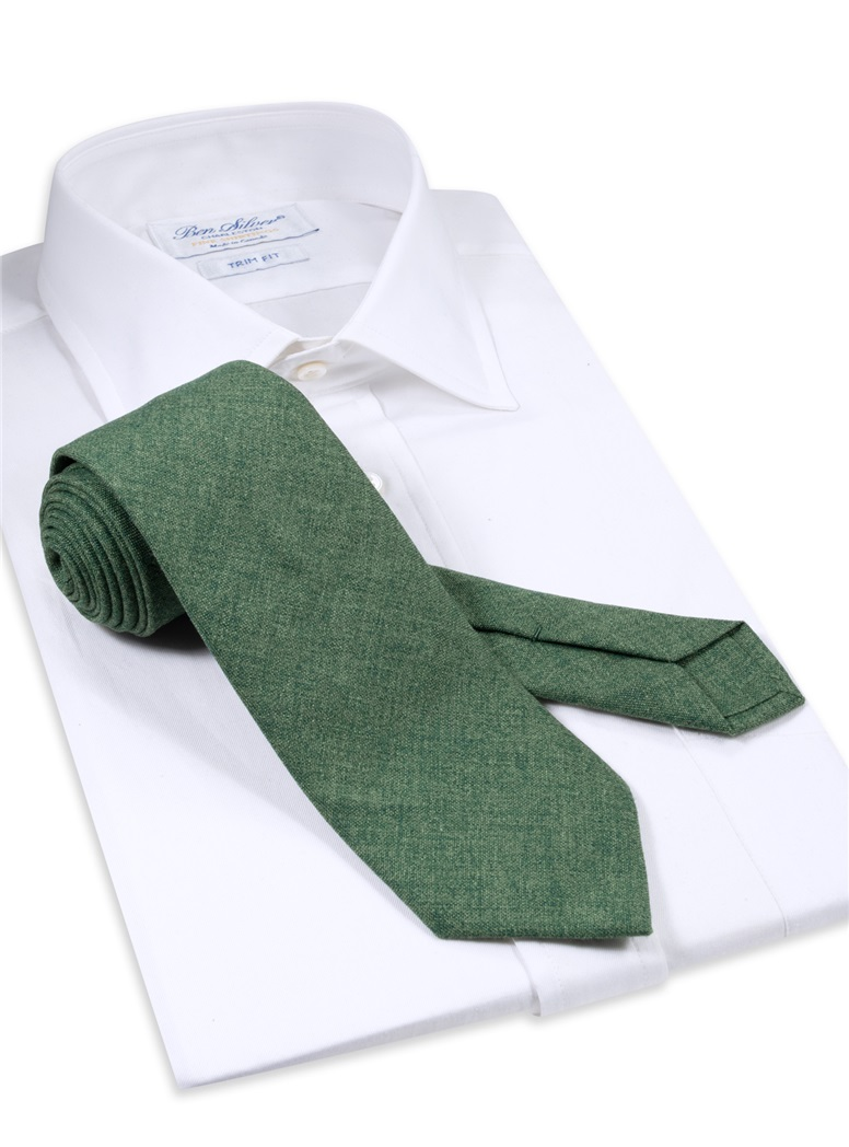 Silk and Cashmere Solid Tie in Forest