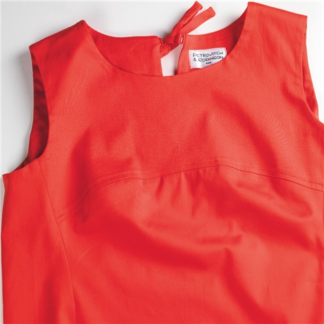 Ladies Poplin Shift Dress in Red