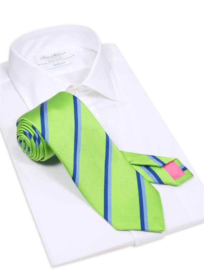 Silk Double Stripe Tie in Lime