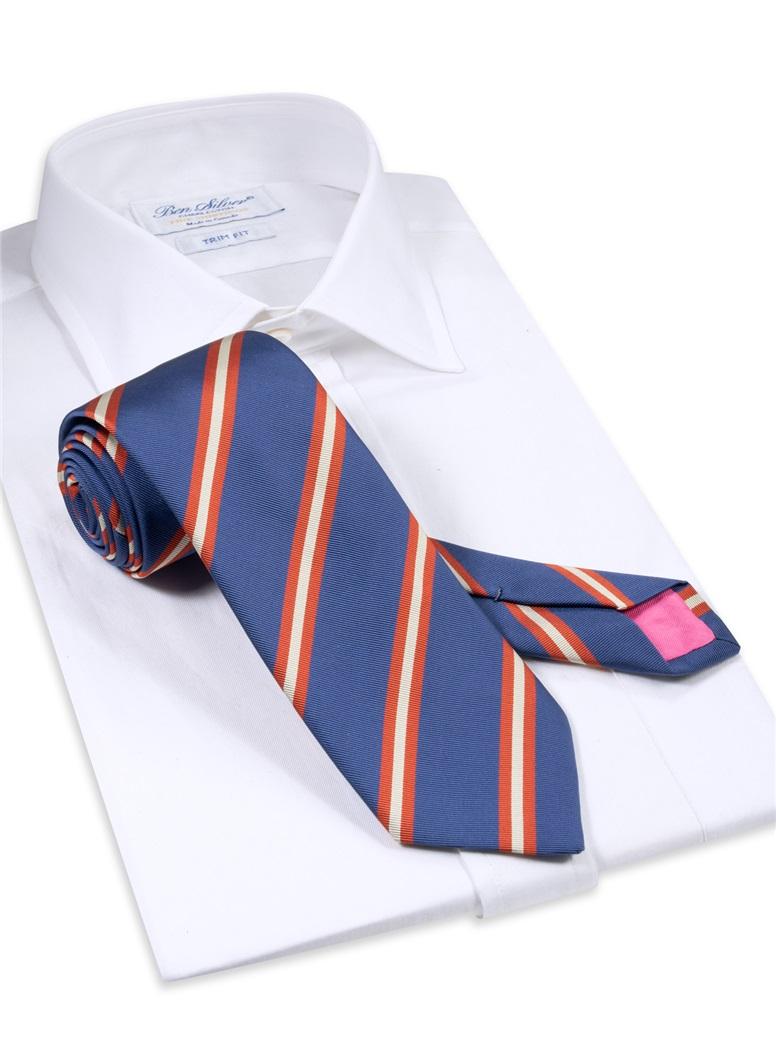 Silk Striped Tie in Ocean