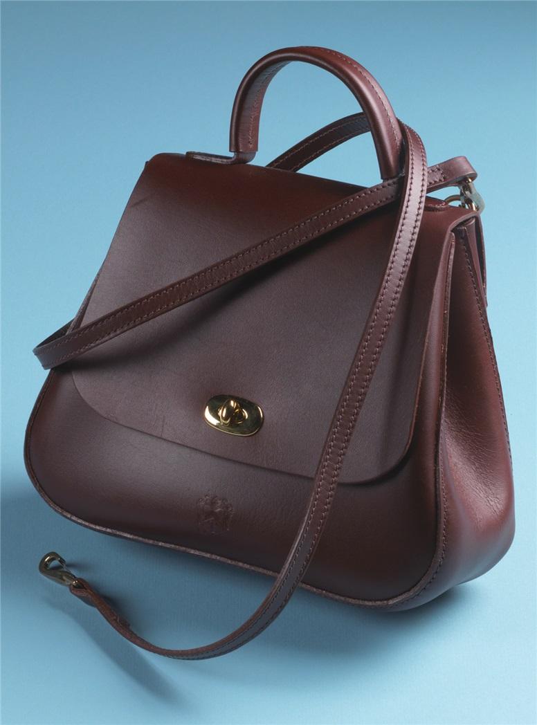 Ladies Leather Handbag in Claret