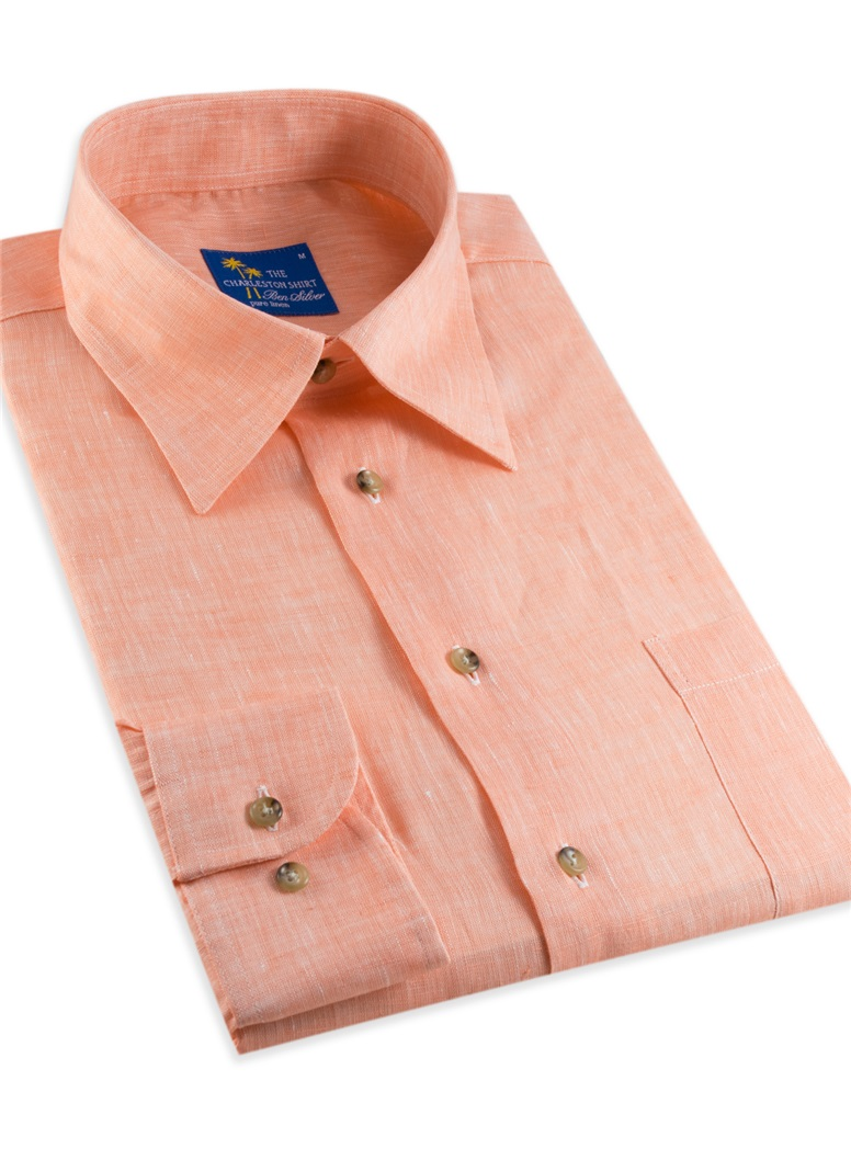 Orange Charleston Linen Shirt