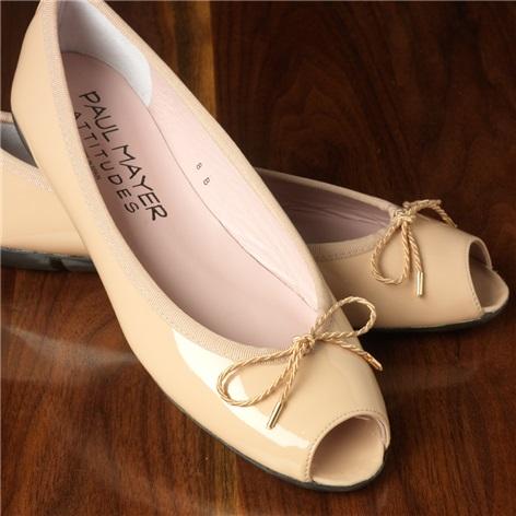 Patent Peep Toe Flats in Beige