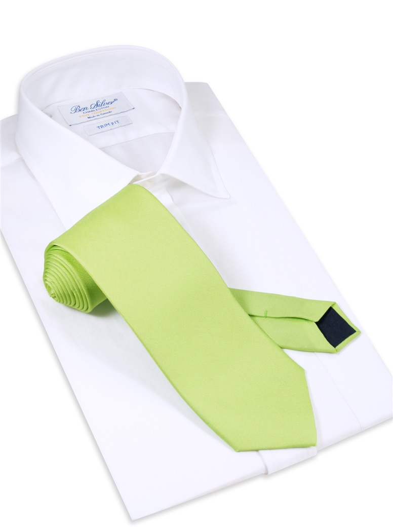 Silk Solid Tie in Lime