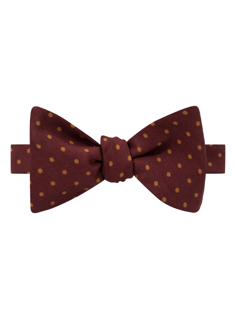 Wool Printed Dots Bow Tie in Wine with Amber