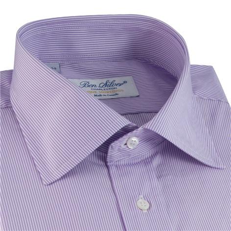 Lilac & White Pinstripe Spread Collar