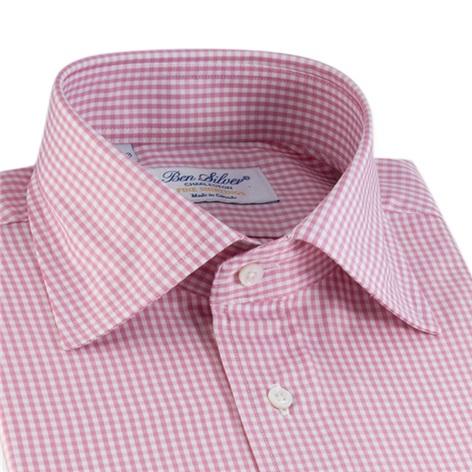 Pink & White Small Grid Check Spread Collar