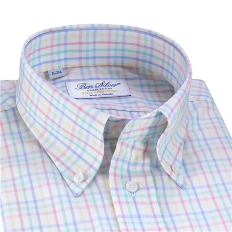 Blue, Green, Pink, and Yellow Pastel Tattersall Button Down