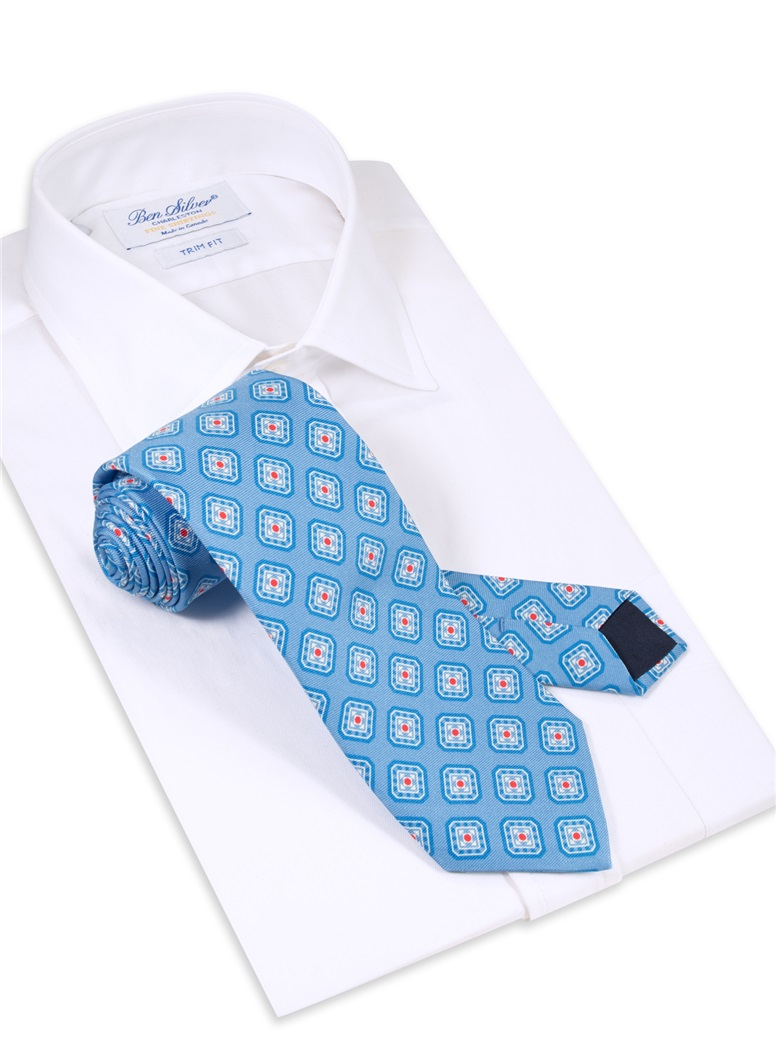 Silk Diamond Motif Printed Tie in Ocean