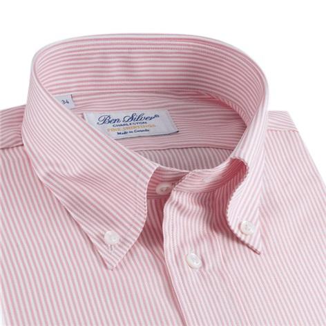 170's Pink & White Bengal Stripe Button Down