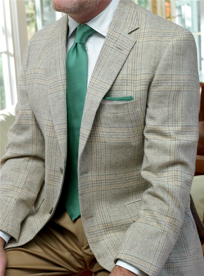 Cream Camelhair Sport Coat with Slate & Teal Windowpane