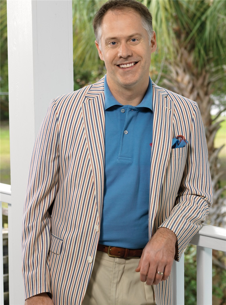 Cream Lightweight Wool Sport Coat with Blue and Red Stripes