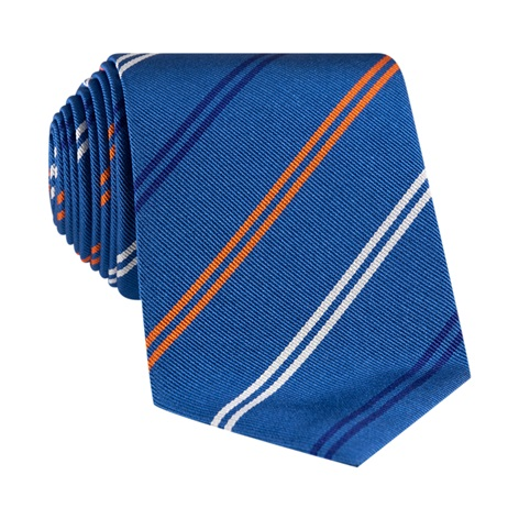 Silk Double Stripe Tie in Denim