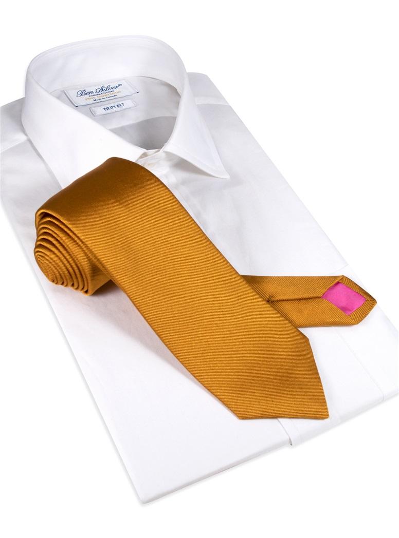 Silk Solid Signature Tie in Golden