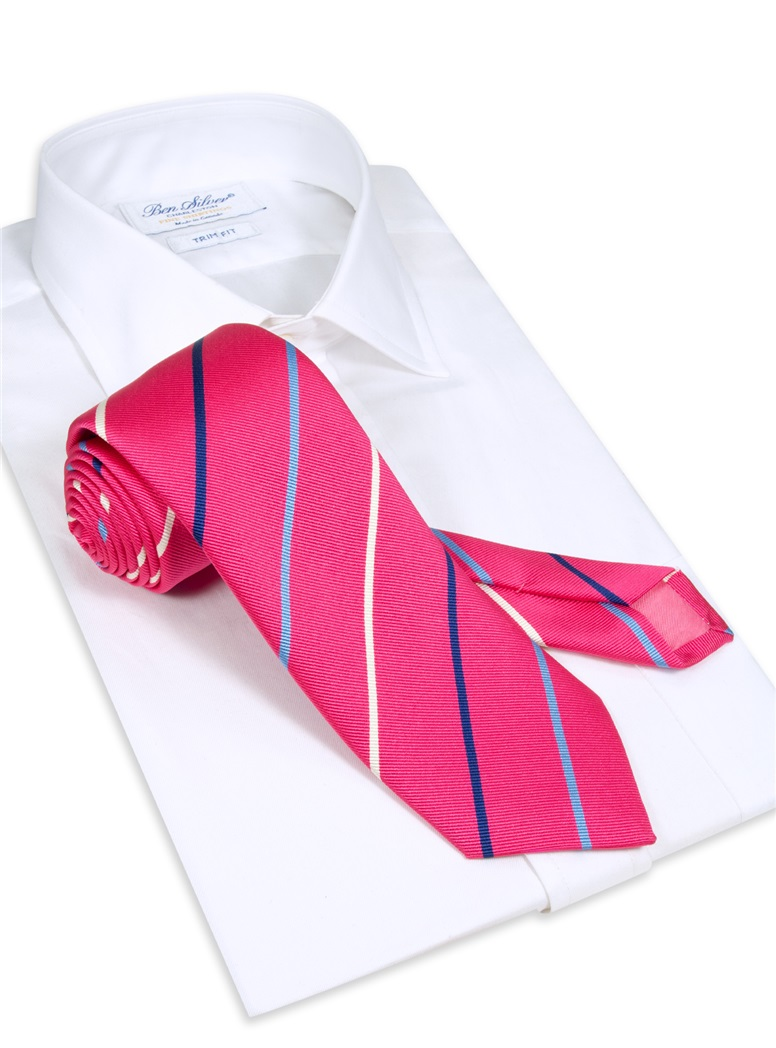 Silk Triple Stripe Tie in Azalea
