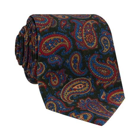 Wool Paisley Printed Tie in Forest
