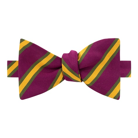 Mogador Striped Bow Tie in Plum