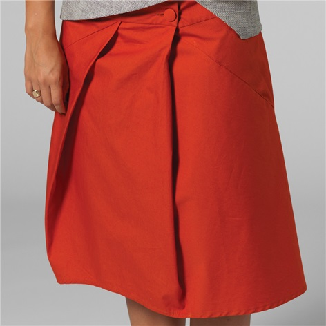 Marie Meunier Cotton Croisée Skirt in Orange
