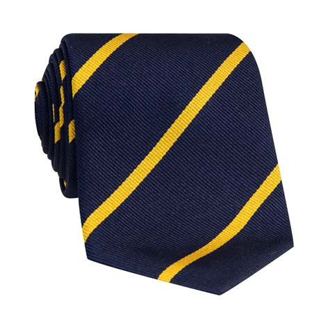 Silk Bar Striped Tie in Navy with Yellow