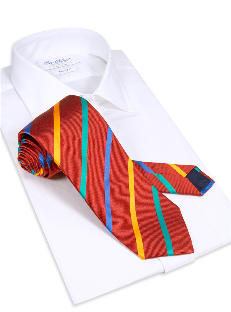 Silk Bar Striped Tie in Ruby
