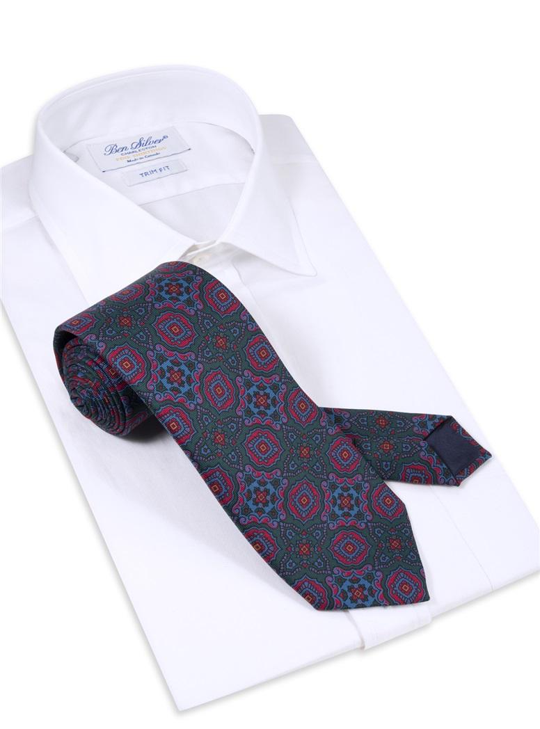 Silk Medallion Motif Printed Tie in Forest