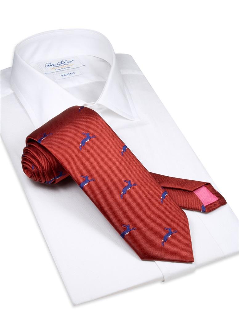 Silk Woven Hare Tie in Ruby