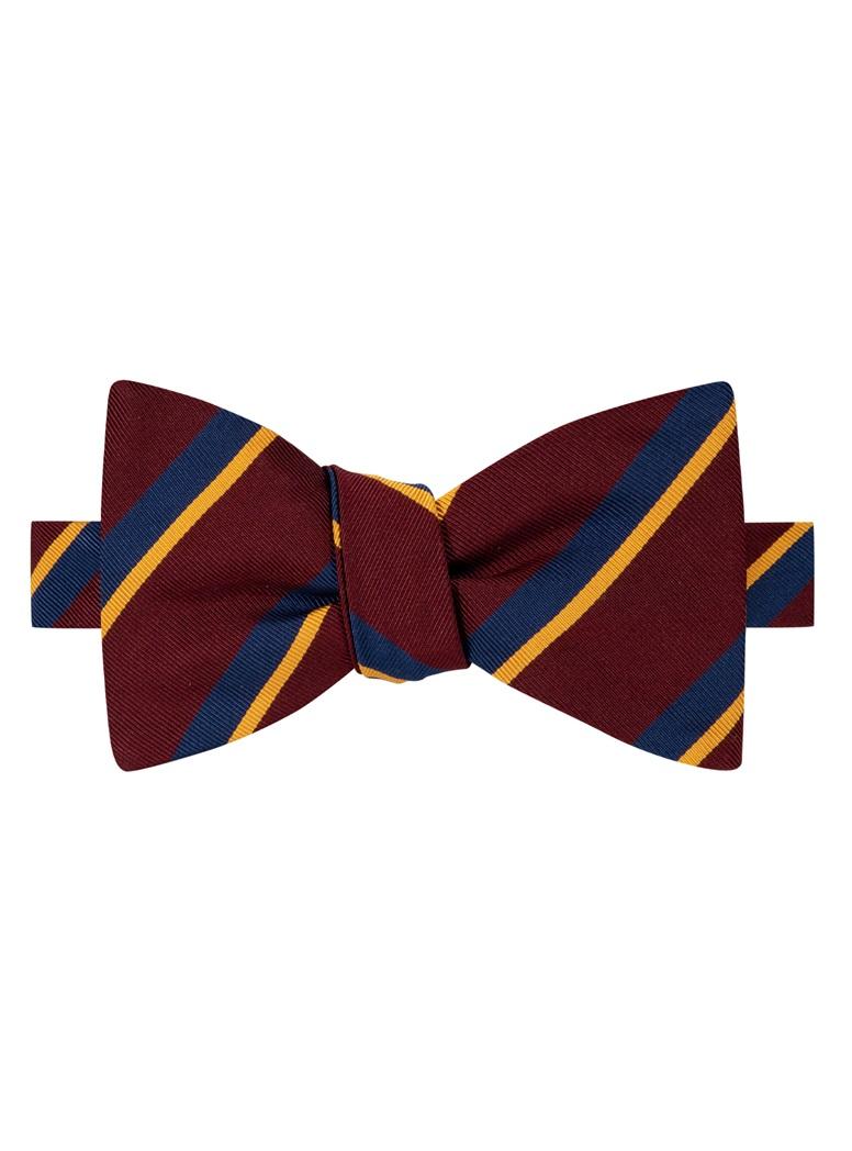 Mogador Silk Double Stripe Bow Tie in Wine