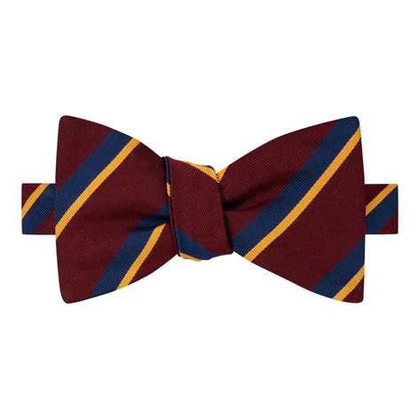 Mogador Silk Double Stripe Bow Tie in Wine