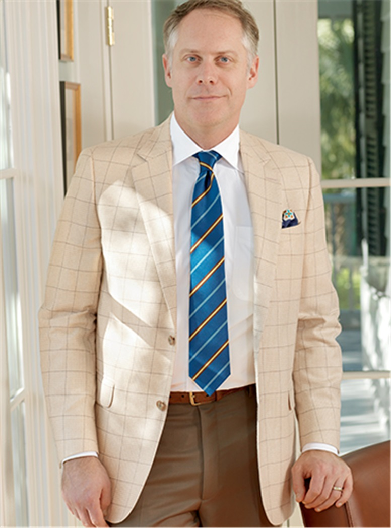 Cream Glen Plaid Cashmere Sport Coat with Chocolate Windowpane