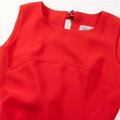 Ladies Sleeveless Shift Dress in Cornelian Red