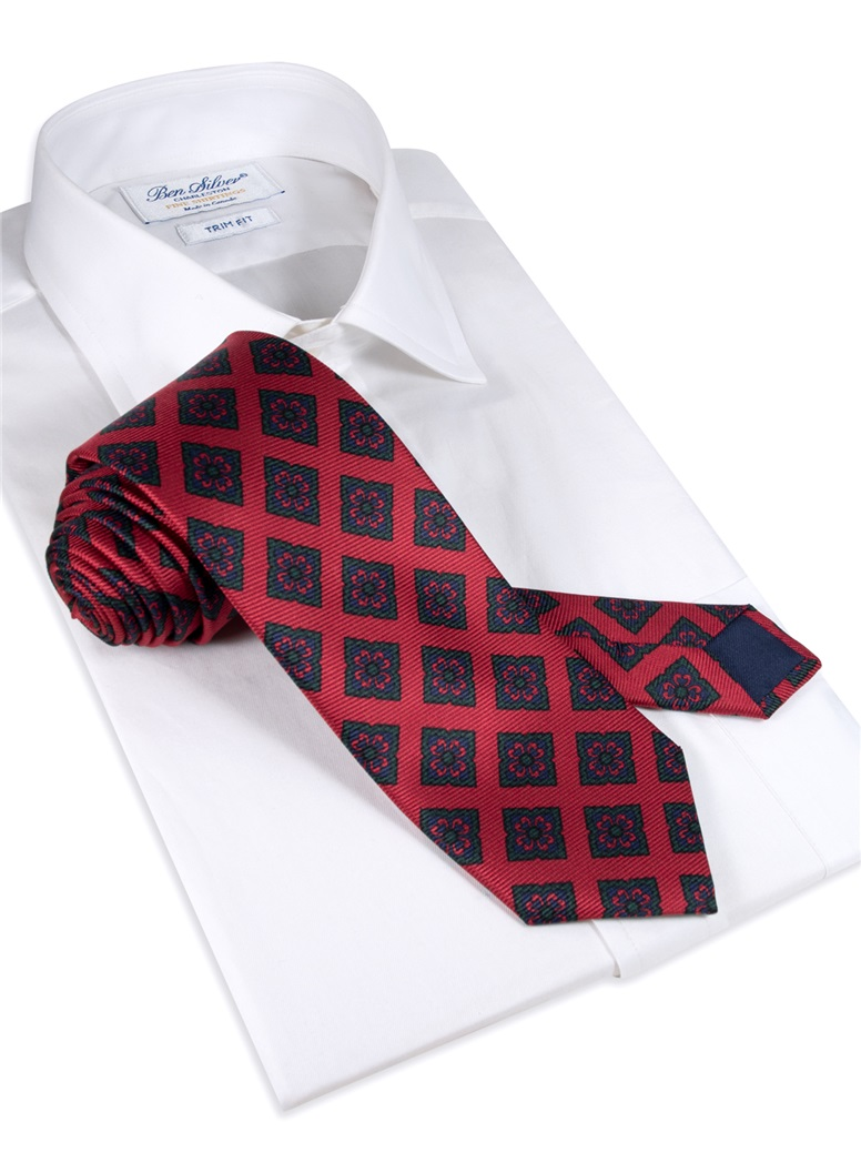 Silk Diamond Motif Tie in Ruby