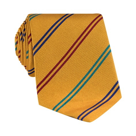 Silk Double Stripe Tie in Marigold